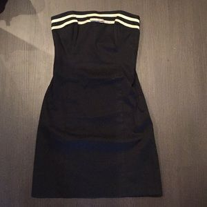 Strapless Black Dress with White Details Size 2